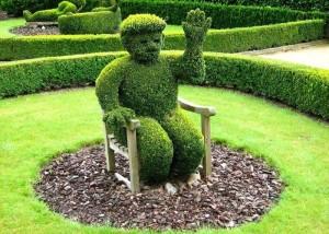 Современный ландшафтный дизайн: декоративный мох, сосновая кора, топиарии